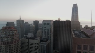 PP0002_000064 - 5.7K stock footage aerial video of flying by skyscrapers with view of Salesforce Tower in Downtown San Francisco, California