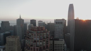 PP0002_000065 - 5.7K stock footage aerial video of passing by skyscrapers with view of Salesforce Tower in Downtown San Francisco, California