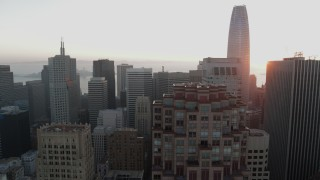 PP0002_000066 - 5.7K stock footage aerial video slowly flyby skyscrapers with view of Salesforce Tower in Downtown San Francisco, California