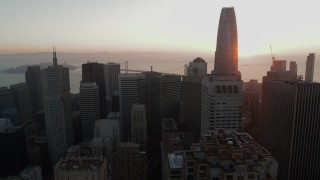 PP0002_000068 - 5.7K stock footage aerial video ascend over skyscrapers near Salesforce Tower in Downtown San Francisco, California