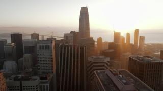 PP0002_000078 - 5.7K stock footage aerial video of passing Salesforce Tower and city skyscrapers at sunrise, Downtown San Francisco, California
