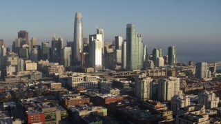 PP0002_000085 - 5.7K stock footage aerial video of the city skyline seen from South of Market, Downtown San Francisco, California