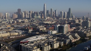 PP0002_000093 - 5.7K stock footage aerial video of a reverse view of the city's skyline, Downtown San Francisco, California