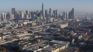PP0002_000098 - 5.7K stock footage aerial video pan from South of Market train station and approach skyline, Downtown San Francisco, California