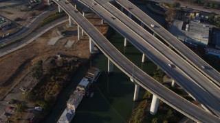 PP0002_000108 - 5.7K stock footage aerial video tilt from waterfront homes and canal, reveal I-280 freeway, South of Market, San Francisco, California