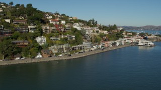 PP0002_000122 - 5.7K stock footage aerial video descend and approach waterfront homes on a hill by Richardson Bay in Sausalito, California