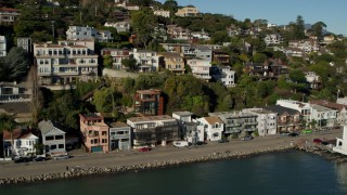 PP0002_000124 - 5.7K stock footage aerial video pan across waterfront homes on a hill with a view of Richardson Bay in Sausalito, California