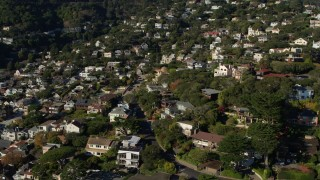 PP0002_000128 - 5.7K stock footage aerial video pan across hillside neighborhoods in Sausalito, California