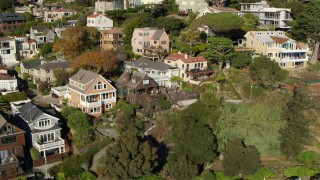 PP0002_000129 - 5.7K stock footage aerial video of flying by hillside neighborhoods in Sausalito, California