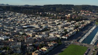 PP0002_000135 - 5.7K stock footage aerial video of apartment buildings near Palace of Fine Arts, Marina District, California