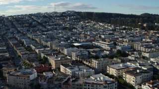 PP0002_000138 - 5.7K stock footage aerial video of slowly passing Marina District apartment buildings in San Francisco, California