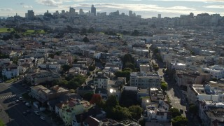 PP0002_000141 - 5.7K stock footage aerial video flyby Marina District apartment buildings, skyline in the distance, San Francisco, California