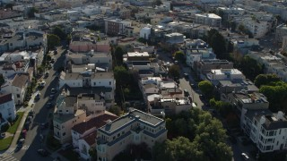 PP0002_000143 - 5.7K stock footage aerial video flyby Marina District apartment buildings in San Francisco, California