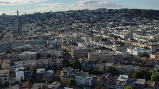 PP0002_000144 - 5.7K stock footage aerial video tilt from apartments in the Marina District to wider view of neighborhoods in San Francisco, California