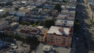 PP0002_000145 - 5.7K stock footage aerial video pan across apartments in the Marina District to city streets in San Francisco, California