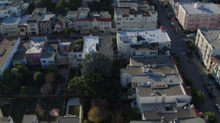 PP0002_000149 - 5.7K stock footage aerial video of apartment buildings and quiet streets in the Marina District, San Francisco, California