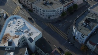 PP0002_000151 - 5.7K stock footage aerial video circle above city street lined with apartment buildings in the Marina District, San Francisco, California
