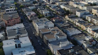 PP0002_000152 - 5.7K stock footage aerial video pass a quiet city street lined with apartment buildings in the Marina District, San Francisco, California