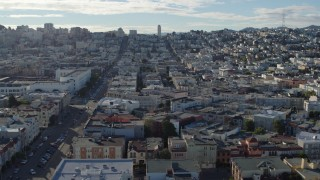 PP0002_000161 - 5.7K stock footage aerial video flyby a neighborhood of apartment buildings by Fillmore Street, Marina District, San Francisco, California