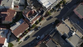 PP0002_000166 - 5.7K stock footage aerial video bird's eye view of apartment building rooftops in the Marina District, San Francisco, California