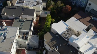 PP0002_000167 - 5.7K stock footage aerial video bird's eye of apartment building rooftops in the Marina District, San Francisco, California