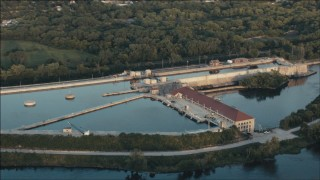 PP001_005 - HD stock footage aerial video of the Lockport Powerhouse at sunset in Joliet, Illinois