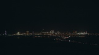 PP003_002 - HD stock footage aerial video of the city skyline, with hotels and casinos at night, Atlantic City, New Jersey