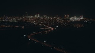 PP003_005 - HD stock footage aerial video of the city's hotels and casinos at night, Atlantic City, New Jersey