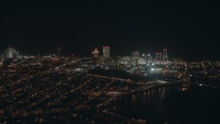PP003_010 - HD stock footage aerial video of flying by hotels and casinos at night in Atlantic City, New Jersey