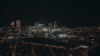 PP003_011 - HD stock footage aerial video of panning to reveal hotels and casinos at night, Atlantic City, New Jersey