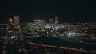 PP003_012 - HD stock footage aerial video of large hotels and casinos at night, Atlantic City, New Jersey