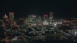 PP003_013 - HD stock footage aerial video of famous casinos and hotels at night in Atlantic City, New Jersey