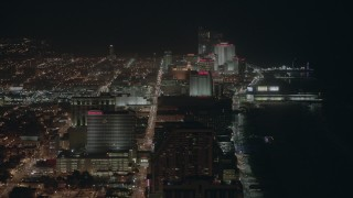 PP003_017 - HD stock footage aerial video of flying by hotels and casinos on the shore at night Atlantic City, New Jersey