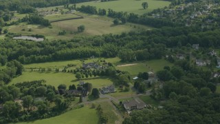 PP003_062 - HD stock footage aerial video approach rural homes in Jackson, New Jersey