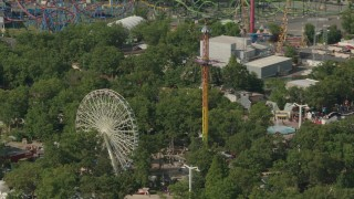PP003_070 - HD stock footage aerial video of a Ferris wheel and rides at Six Flags Great Adventure theme park in Jackson, New Jersey