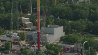 PP003_073 - HD stock footage aerial video of orbiting the Parachute Jump Tower ride at Six Flags Great Adventure theme park, Jackson, New Jersey