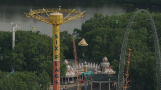 PP003_074 - HD stock footage aerial video of the Parachute Jump Tower ride at Six Flags Great Adventure theme park, Jackson, New Jersey