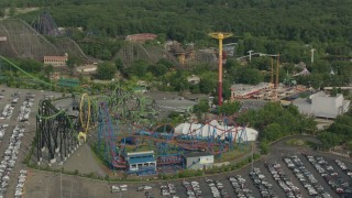 PP003_075 - HD stock footage aerial video of theme park rides at Six Flags Great Adventure, Jackson, New Jersey