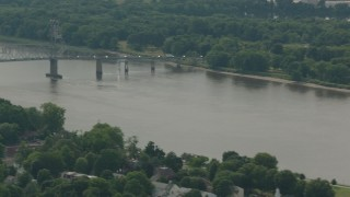 PP003_080 - HD stock footage aerial video of panning across a river to reveal the Burlington-Bristol Bridge, New Jersey