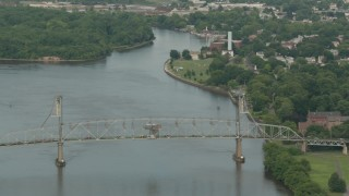 PP003_084 - HD stock footage aerial video of flying by the Burlington-Bristol Bridge and river in Burlington, New Jersey