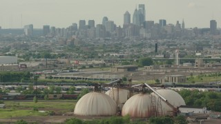 PP003_093 - HD stock footage aerial video of the Downtown Philadelphia skyline seen from silos, Pennsylvania
