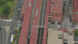 PP003_116 - HD stock footage aerial video of a commuter train stopping at the station in Wilmington, Delaware