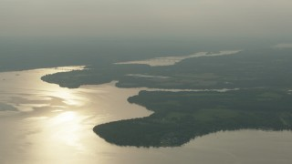 PP003_117 - HD stock footage aerial video of bridges spanning the Susquehanna River, Maryland