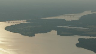 PP003_118 - HD stock footage aerial video of a view of bridges spanning the Susquehanna River, Maryland