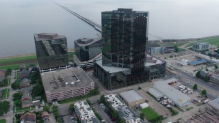 PVED01_101 - 4K stock footage aerial video orbit Lakefront Hotel and office buildings in Metairie, New Orleans, Louisiana