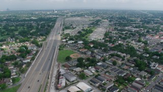 PVED01_106 - 4K stock footage aerial video approach several cemeteries in Lakeview, New Orleans, Louisiana