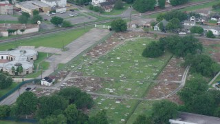 PVED01_108 - 4K stock footage aerial video orbit small cemetery in Lakeview, New Orleans, Louisiana