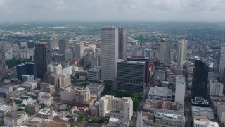 PVED01_115 - 4K stock footage aerial video approach and fly over One Shell Square in Downtown New Orleans toward Iberville Projects, Louisiana