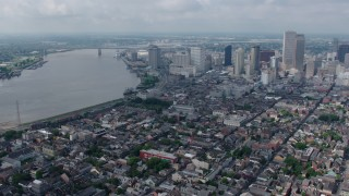 PVED01_117 - 4K stock footage aerial video wide orbit of French Quarter, Downtown New Orleans and the Mississippi River, Louisiana