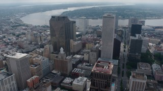 PVED01_127 - 4K stock footage aerial video fly over Downtown New Orleans to the Mississippi River, Louisiana